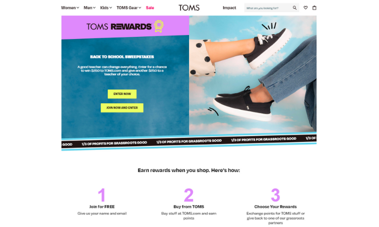Customer Loyalty Example - TOMS