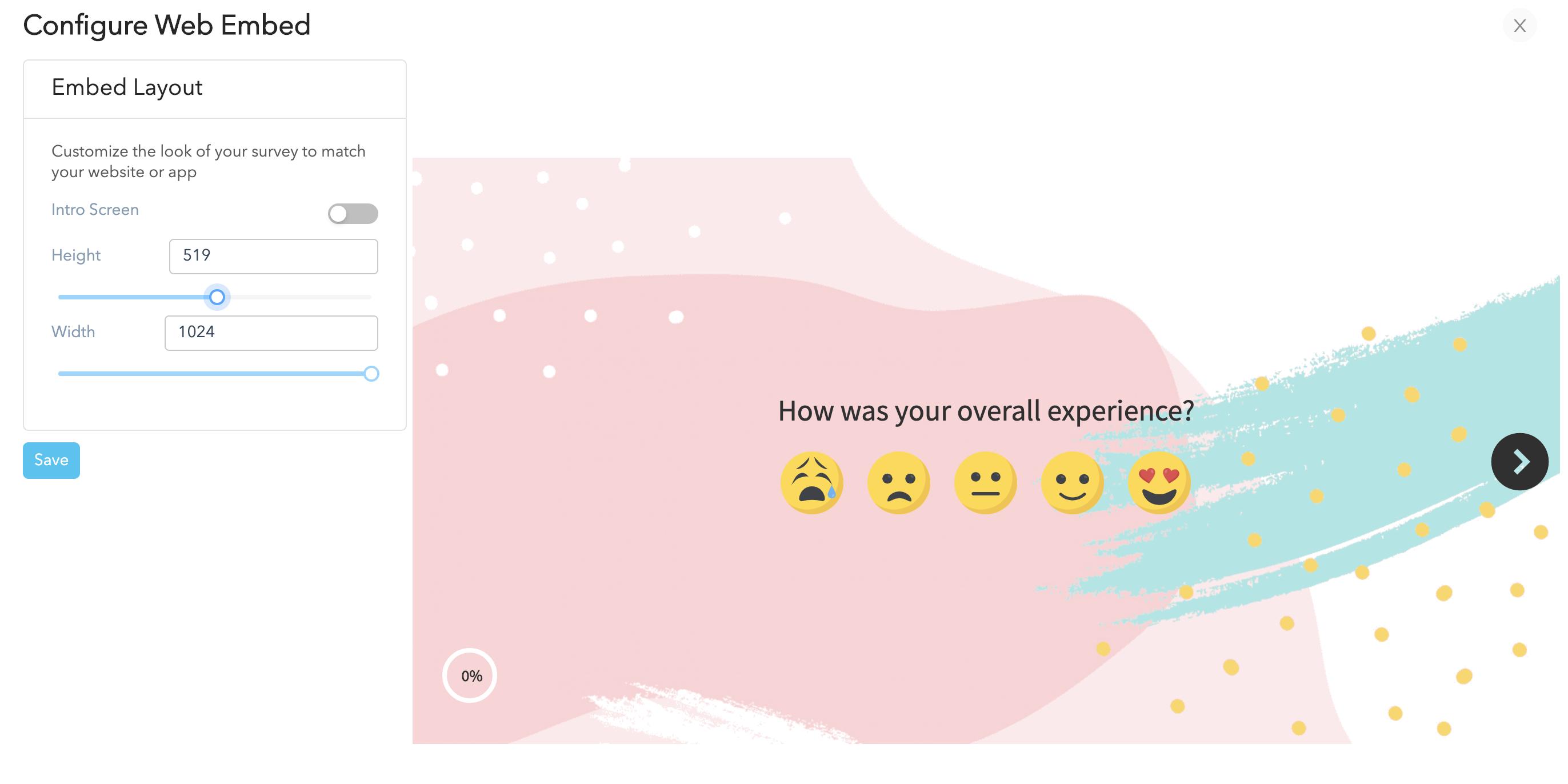 Website Survey Embed Settings