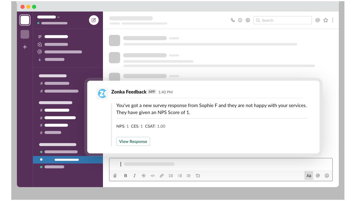 Zonka Feedback Custom Notifications & Alerts in Slack
