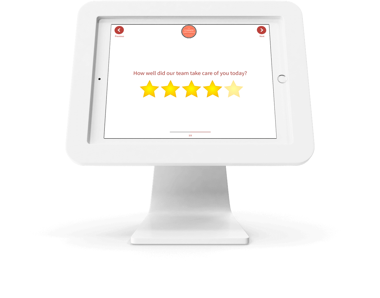 Tablet-based Feedback Kiosk with 5 Star Rating Question