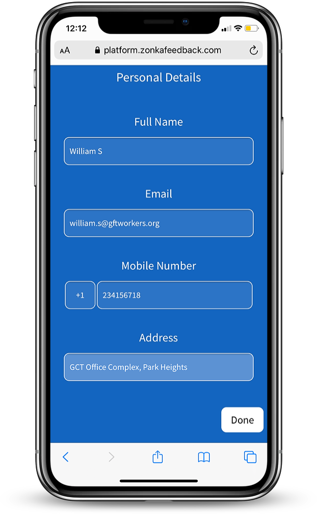 MobileForm - Personal Details