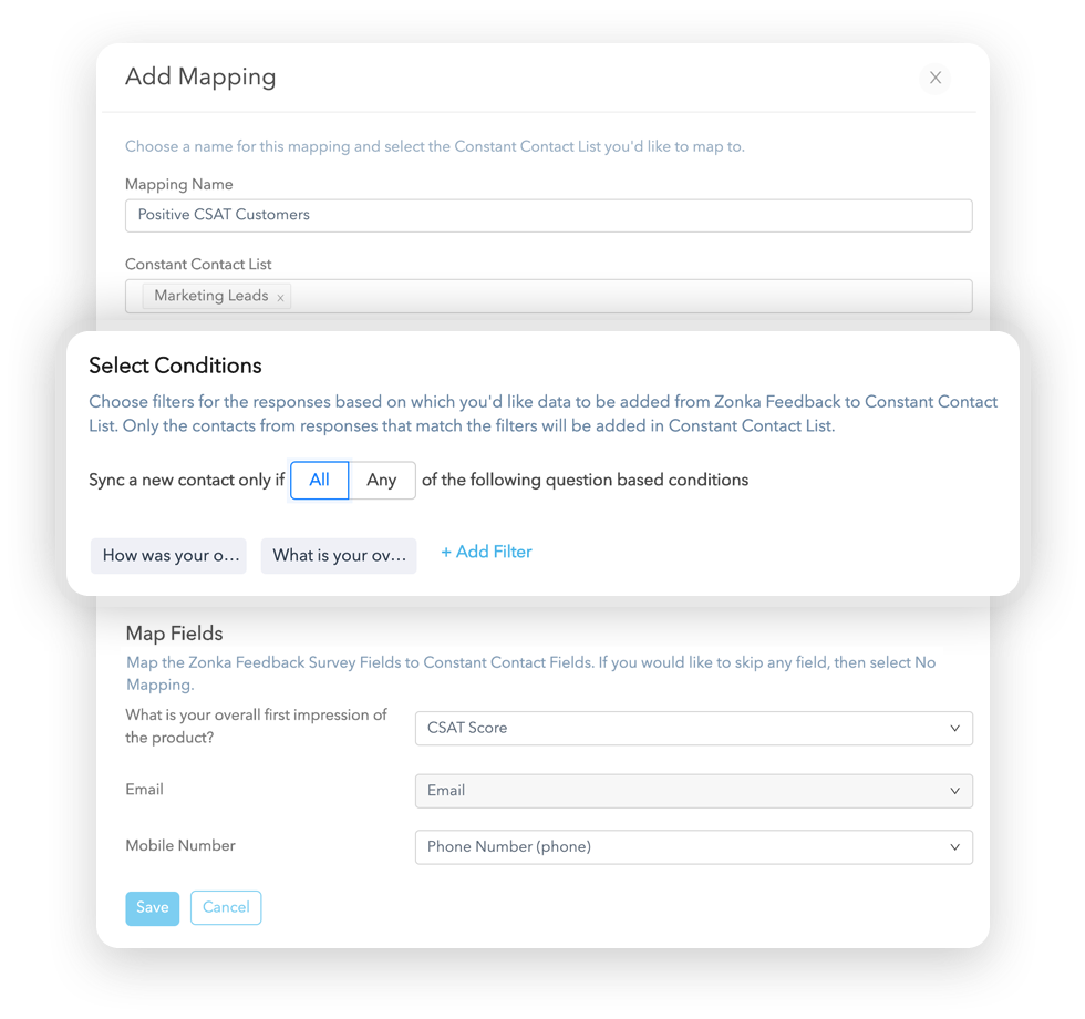 Select Conditions for Constant Contact