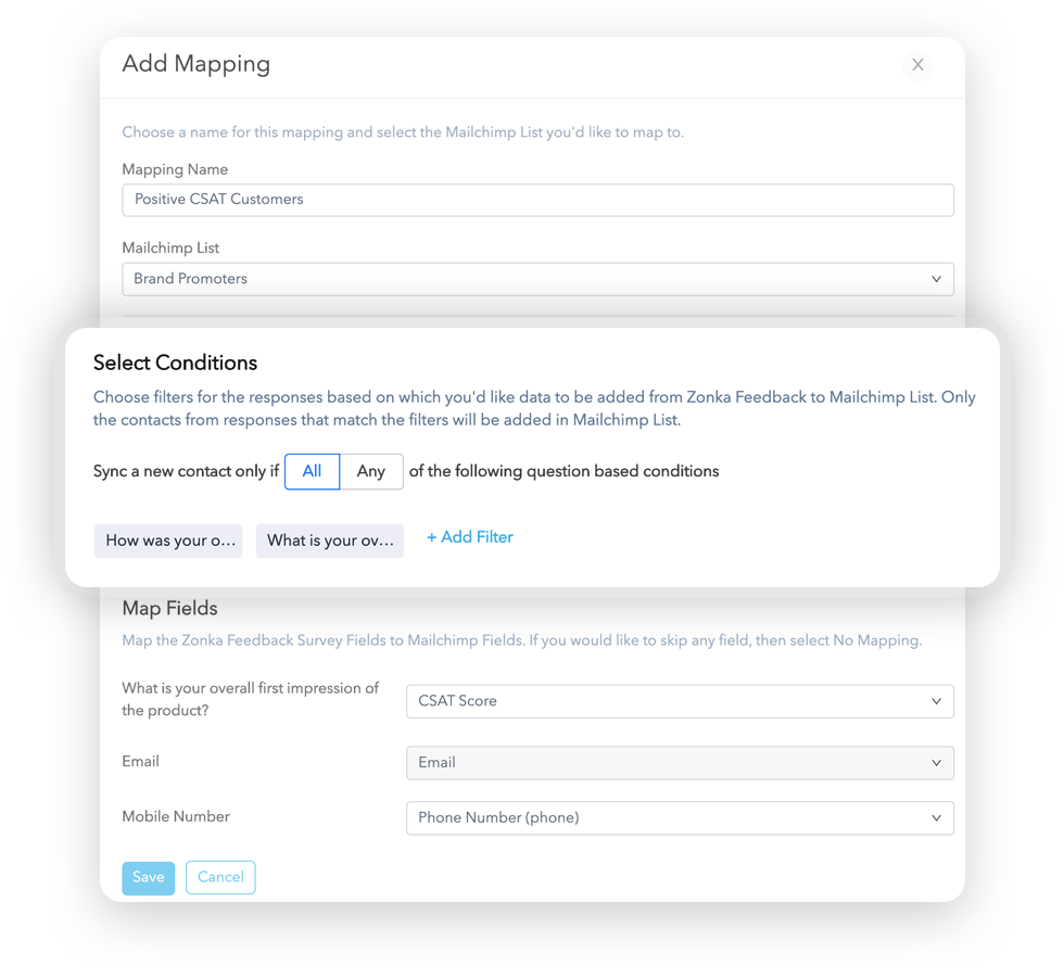 Select Conditions for Mailchimp