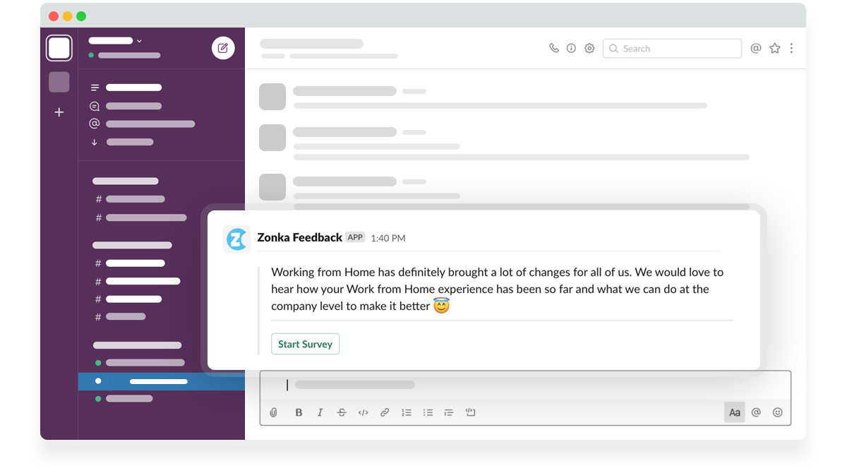 Send Zonka Feedback Survey Invitation to Slack Users & Channels