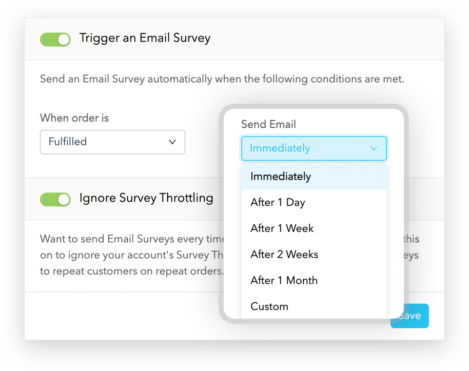 Send an Email Survey immediately or after a delay
